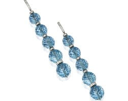 36. pair of 18 karat white gold, aquamarine and diamond earclips