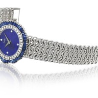 32. piaget   reference 9317 n93 a white gold, diamond and sapphire-set bracelet watch with lapis lazuli dial, made in 1977