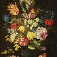 34. 巴爾薩澤·凡·德·阿斯特 | 《靜物:石架上玻璃酒杯內的花卉、昆蟲與蜥蜴》