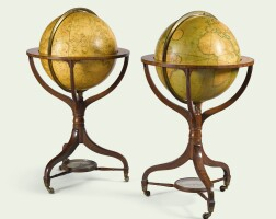 157. a pair of regency 21-inch terrestrial and celestial library globes by john & william cary, dated 1816-1818 |