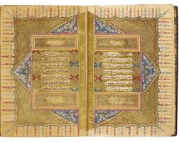 24. an illuminated qur'an, copied by mehmed tahir al-shukri, student of 'abd al-rahman al-wasfi, illuminated by mahmud hilmi, turkey, ottoman, dated 1252 ah/1836-37 ad |