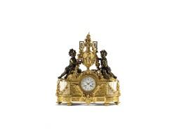 4. a french louis xvi-style ormolu bronze and marble sculptural mantel clock, circa 1850