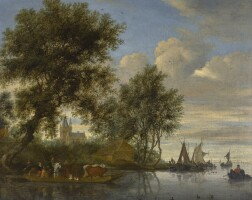 166. salomon van ruysdael | river landscape with animals and figures in a ferry, a church tower and sailing boats beyond