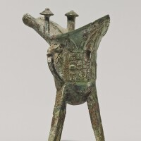 103. a bronze ritual wine vessel (jue) late shang dynasty, 13th - 11th century bc
