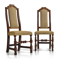 334. a matched pair of william and mary carved, turned and figured maple side chairs, boston, massachusetts, circa1720 |