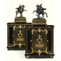 6. a pair of gilt-bronze-mounted tortoiseshell brass inlaid première-partie boulle marquetry and ebony meubles à hauteur d'appui by mathieu befort napoleon iii, circa 1860