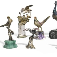 719. an aviary of nine jewelled parcel-gilt silver and enamel figures of birds, austro-hungarian, late 19th/20th century