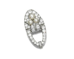 5. cultured pearl and diamond brooch, circa 1925