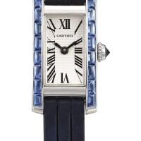 2049. 卡地亞 | 2544型號「tank américaine」白金鑲藍寶石腕錶,錶殼編號40782 ce,年份約2007。