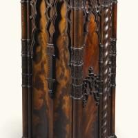 147. an italianneo-gothic carvedmahogany pedestal, naples circa 1830