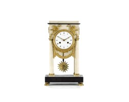 5. a french directoire ormolu and marble portico mantel clock, late 18th century