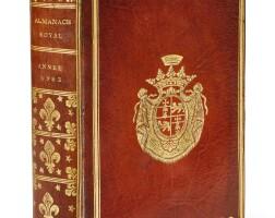 8. almanach, année 1782. d'houry, [1781]. in-8. maroquin rouge aux armes d'omer joly de fleury.