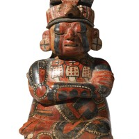 45. maya two- part figural vessel, early classic, ca. a.d. 250-450