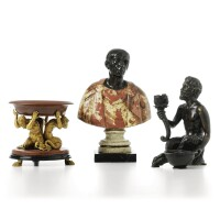 12. an italian patinated bronze and coloured marble bust of julius caesar 19th century