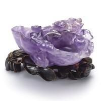 3402. 清乾隆 紫晶雕螭龍靈芝式洗 配 染色象牙座 |