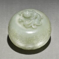 262. a celadon jade 'chilong' circular box and cover qing dynasty,19th century  