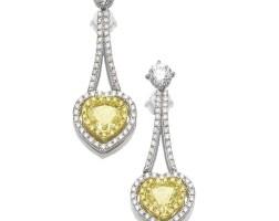 43. pair of fancy vivid yellow diamond and diamond pendent earrings