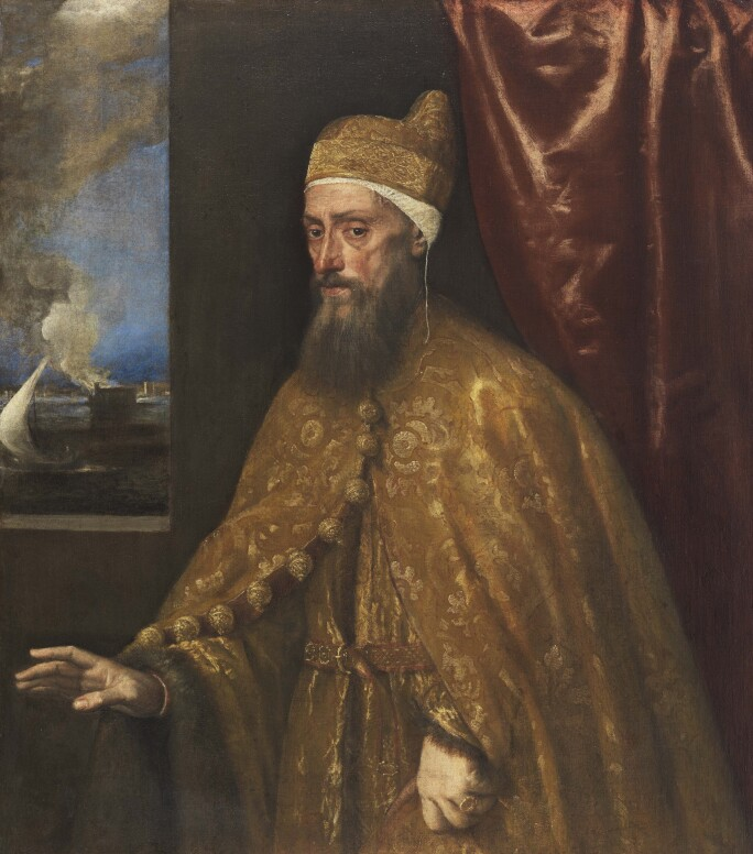 Titian, Portrait of Doge Francesco Venier, 1554–56, dressed in a red and gold brocaded cloak and cape.