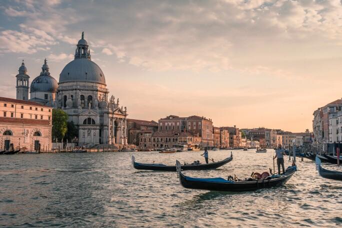 Santa Maria della Salute on the Grand Canal with gondolas in the foreground