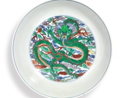612. a doucai 'dragon and phoenix' dish kangxi mark and period |