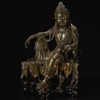 324. 宋 銅鎏金水月觀音坐像  