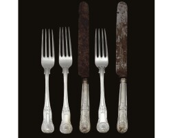 10. a set of royal german silver forks and silver knives, made by a member of the matthias family, hanover, circa 1860