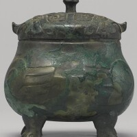 104. a rare bronze double-owl-form ritual food vessel (you) late shang dynasty, 13th - 11th century bc