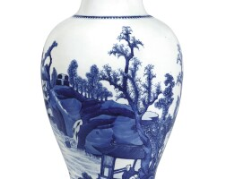 3642. a blue and white 'landscape' vase qing dynasty, kangxi period |