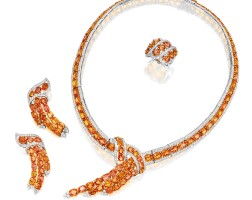 1827. orange sapphire and diamond necklace, ring and pair of matching pendent ear clips