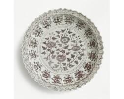 43. an outstanding underglaze-red 'chrysanthemum' dish ming dynasty, hongwu period