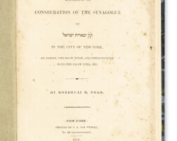 6. discourse delivered at the consecration of the synagogue of shearith israel in the city of new york …, mordecai m. noah, new york, c.s. van winkle: 1818