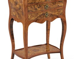 33. a small louis xv tulipwood, elm and plum tree marquetry occasionnal table, france, north dauphiné or jura, circa 1740  