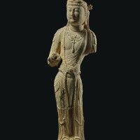 3010. a rare sandstone figure of a bodhisattva tang dynasty |