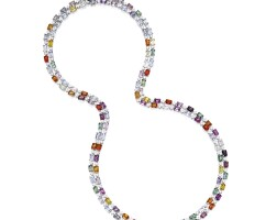 1612. coloured sapphire and diamond necklace
