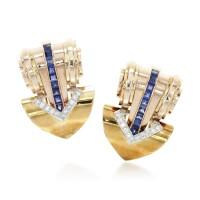 35. pair of sapphireand diamondclip brooches, tiffany & co, circa 1938