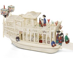 331. a canton polychrome and carved ivory pleasure boat qing dynasty, circa 1840