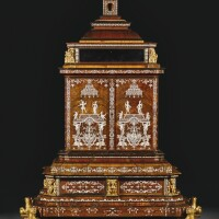 13. a germanivory inlaid and walnut veneered gilt-bronze mounted table cabinet, attributed to ferdinand plitzner or to heinrich ludwig rohde, pommersfelden or mainz, circa 1725