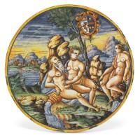 39. an italian maiolica armorial istoriato plate, circa 1580-1600, urbino or district