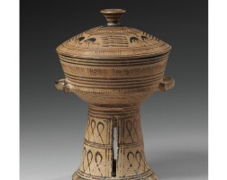 29. a terracotta pyxis, proto-attic, attributed to the mesogeia painter, 1st quarter of the 7th century b.c.