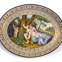 383. an italian cream-colored earthenware footed tray circa 1800-10