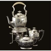 32. a german silver three piece teaset, brückmann & sohne, heilbronn, circa 1914