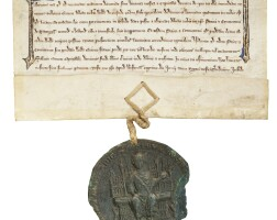 7. king edward i and tandridge priory: a licence for the alienation in mortmain by william de ocstede to the prior and convent of tandridge of a carucate of land in oxted, in latin; dated at westminster, 7 june 1285