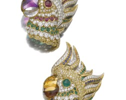 37. pair of gem-set and diamond clip/brooches