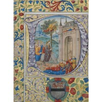 5. christ's entry to jerusalem, large historiated miniature on a cutting from a choirbook, on vellum