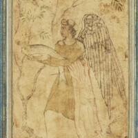 44. an angel holding a fish, inspired by the biblical story of tobias and the angel,india, mughal, circa 1590-1600
