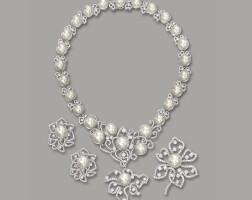 1633. cultured pearl and diamond demi-parure