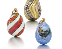 206. three miniature egg pendants, circa 1900