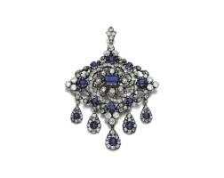 60. diamond, paste and sapphire brooch/pendant, second half 19th century