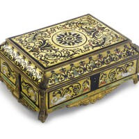 32. a louis xiv ormolu-mounted, brass, pewter, tortoiseshell, mother-of-pearl and tinted horn-inlaid box circa 1710