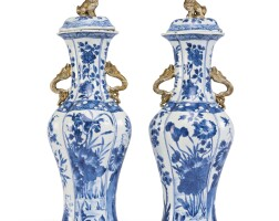 1111. pair of chinese export blue and white lobed baluster jars and covers early 18th century